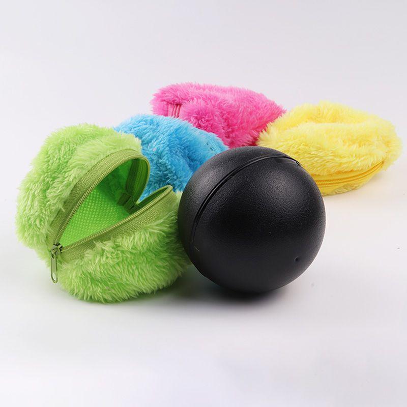1 ensemble Automatique Rolling Vide De Balayage de Plancher Robot Nettoyeur Ballon Microfibre De Nettoyage Avec 4 pièces Coloré De Nettoyage Couvre Ensemble CHAUDE