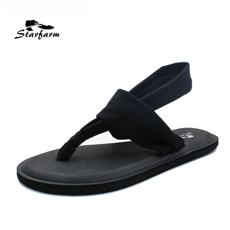 STARFARM Yoga Slings Beach Flip Flops Women Shoes Woman Casual Flats Sandals Elastic Strap EVA Slides Fashion Comfortable Shoes