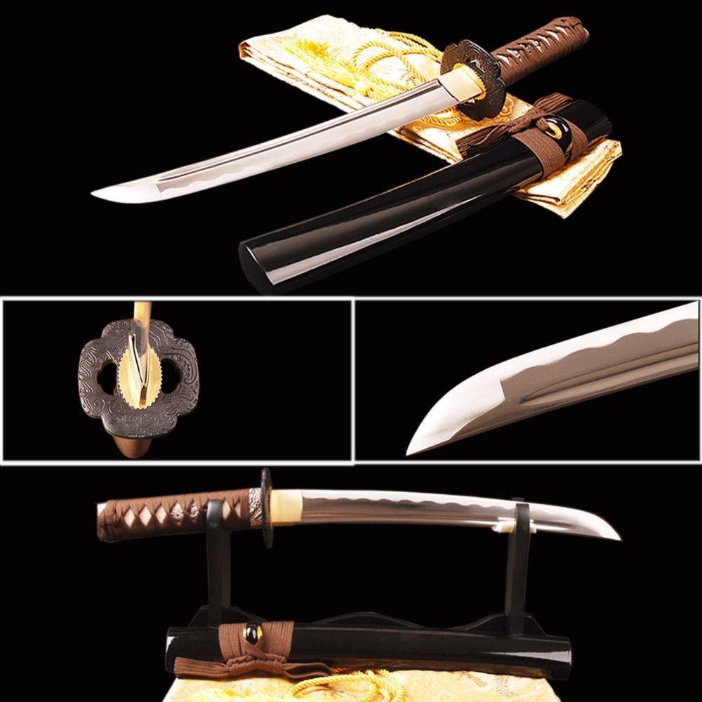 Brandon Schwerter Sharp Full Tang Samurai Tanto Schwert Praxis Japanischen Kurzes Messer 1060 Carbon Stahl Welle Hamon Metall Wohnkultur