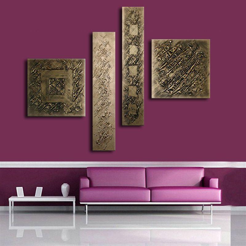 Peint à La main Bronze Couleur Ligne Moderne Peinture À L'huile Sur Toile 4 Panneau Arts Définit La Maison Abstrait Mur Décor Image pour salon