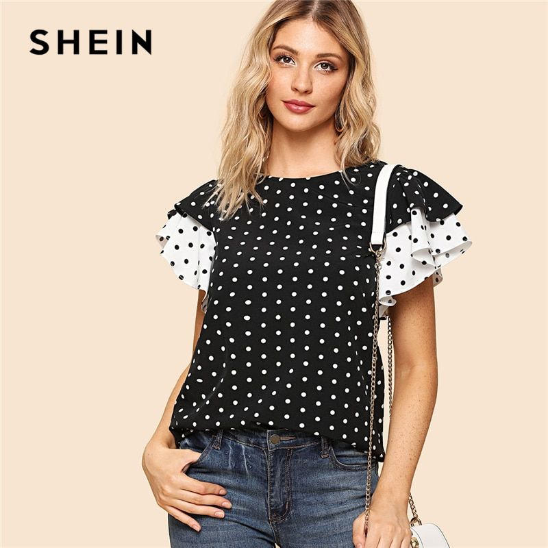 SHEIN Black and White Preppy Polka Dot Keyhole Back Layered Ruffle Sleeve Round <font><b>Neck</b></font> Blouse Summer Women Going Out Shirt Top