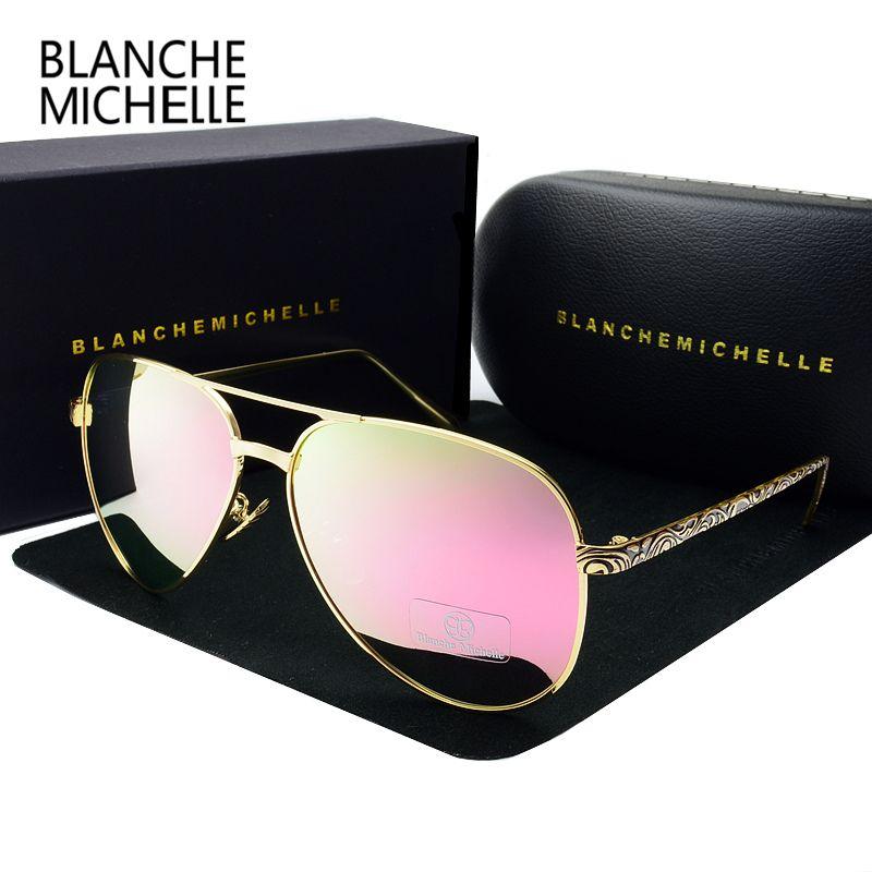 2019 haute qualité pilote lunettes de soleil femmes polarisées UV400 lunettes de soleil miroir lunettes de soleil marque Designer lentille rose avec boîte d'origine