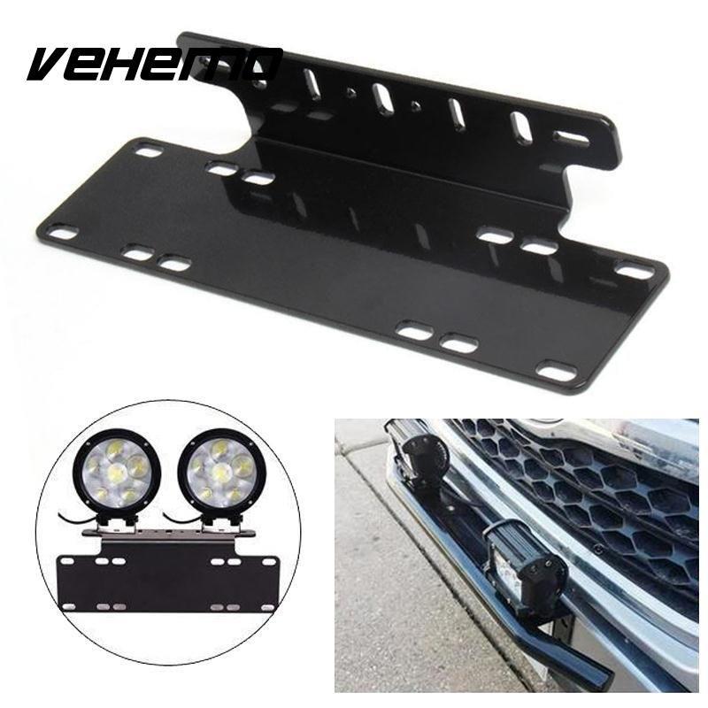 Vehemo переднего бампера Номерной знак горе стенд держатель кронштейн светодиодные Offroad Для Jeep Грузовик Универсальный прочный черный