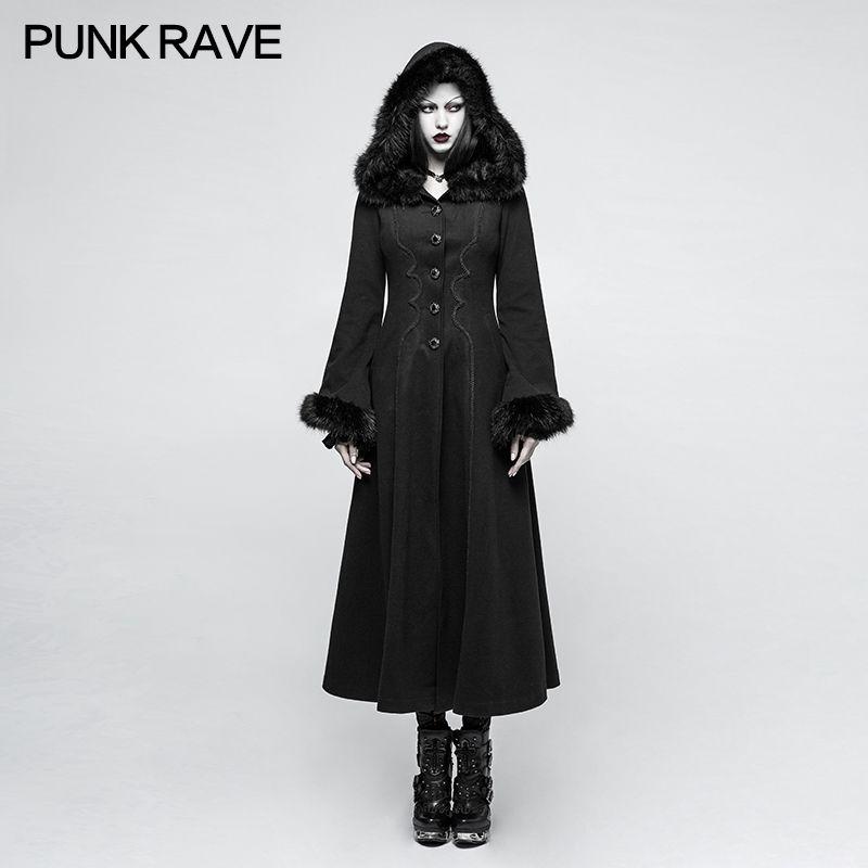 Punk Rave Gothic Winner Hooded Casual Disc Flowers Women Long Worsted Black Retro Coat Overcoat