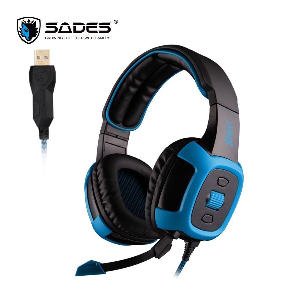 Sades шейкер Игровые наушники Виртуальный 7.1 Surround Sound и эффект вибрации гарнитура Over-Ear шлем с Съемный Micphone