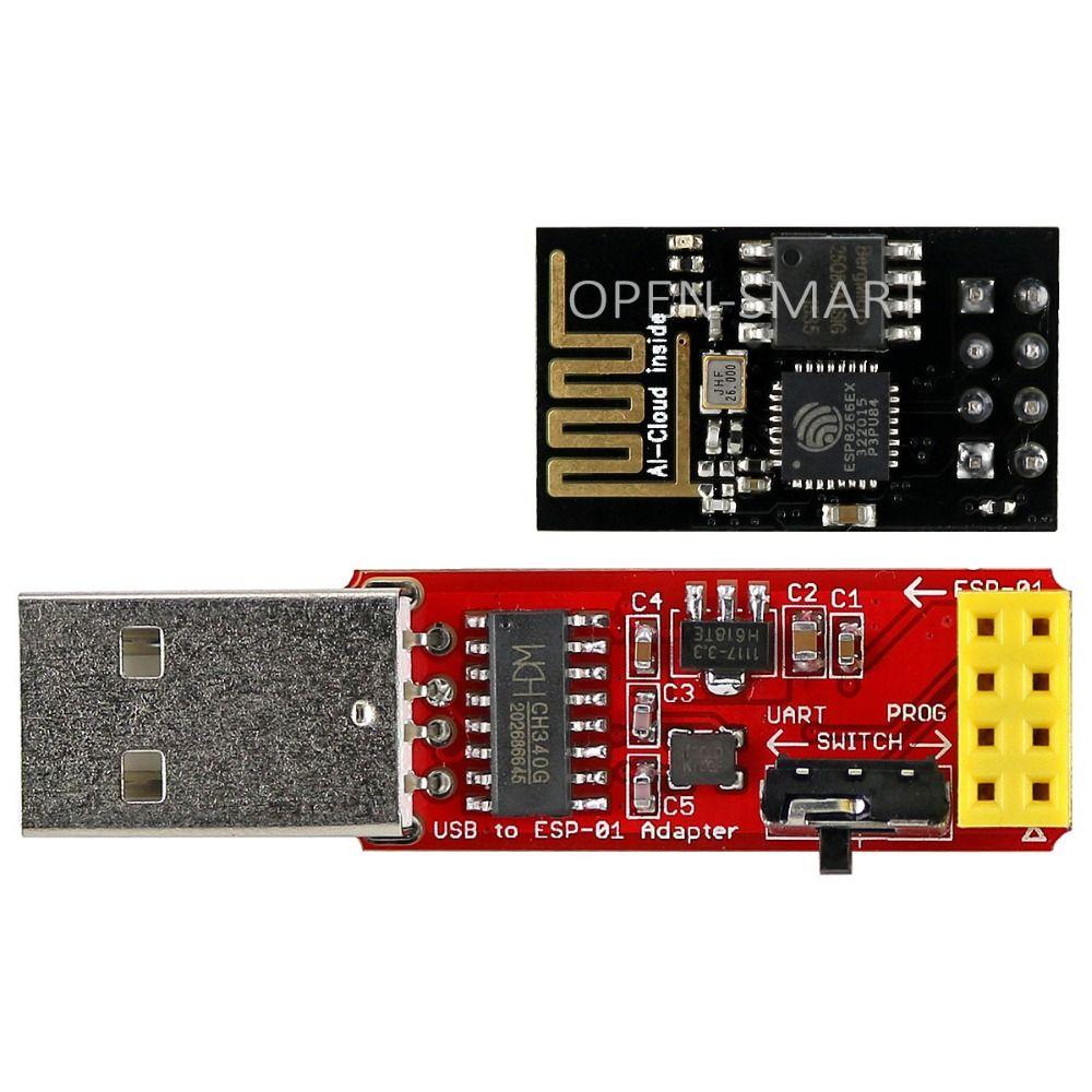 ESP8266 Wi-Fi Émetteur-Récepteur Module + USB à ESP-01 Adaptateur Série Sans Fil Adaptateur Débogage Programmation Firmware pour Arduino