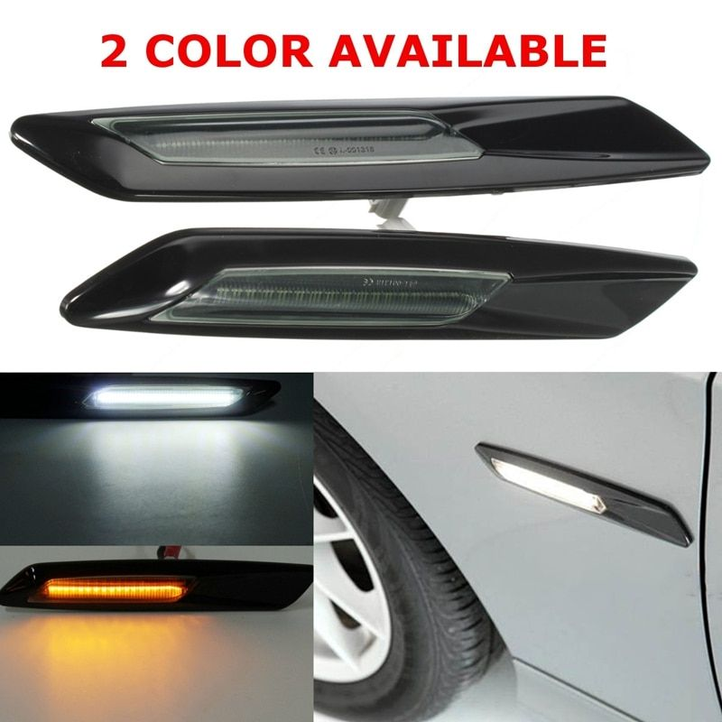 2x Car Styling Side Narker LED Car Turn Signal Light  F10 Style For BMW E60 E82 E87 E88 E90 E91 Amber&White
