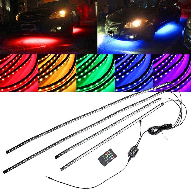 4x 5050 SMD Flexible LED Strip Under Car LED RGB Remote Control Tube Underglow Underbody System Neon Light Tube Kit Waterproof