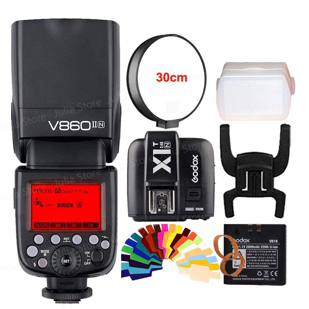 Godox V860II V860II-N GN60 i-TTL HSS 1/8000s Speedlite Flash w/ Li-ion Battery + X1T-N Flash Transmitter for Nikon + Gift Kit