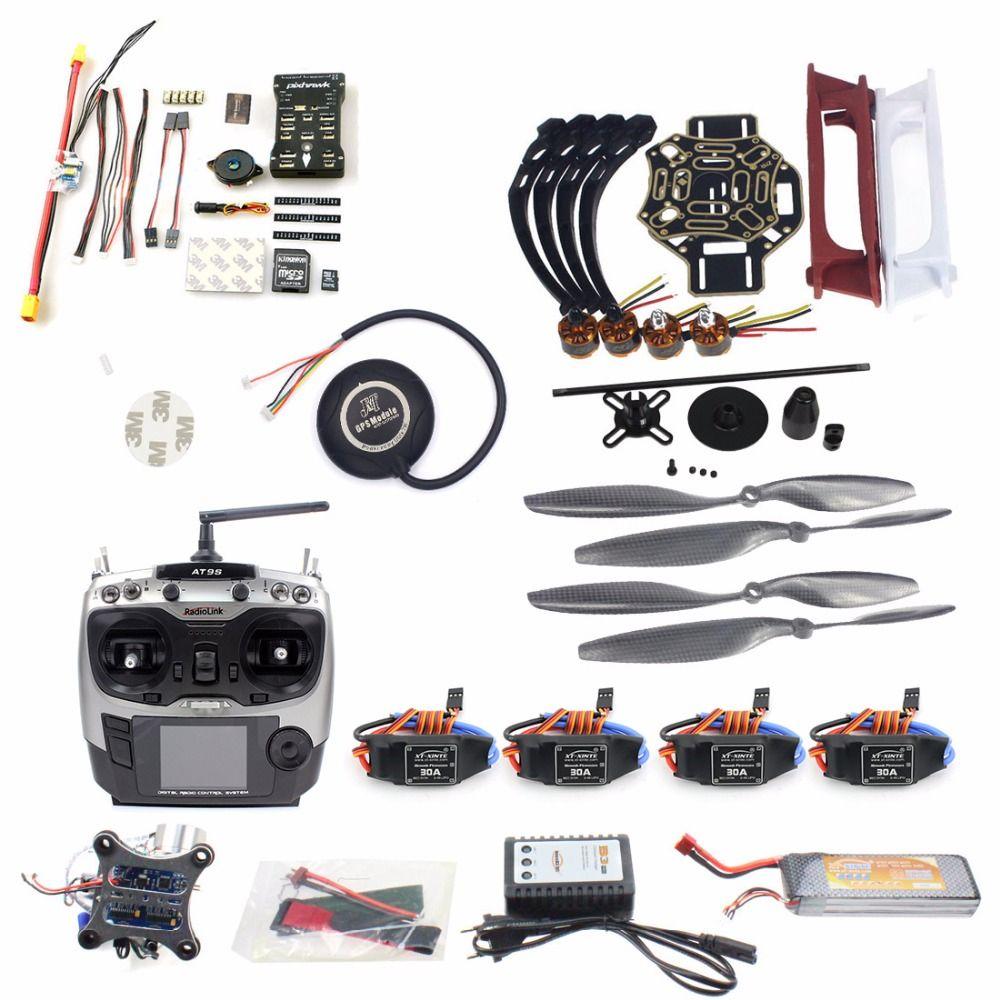 DIY RC FPV Drone Kit 4-axis Quadcopter avec F450 450 Cadre PIXHAWK PXI PX4 Flight Control 920KV Moteur GPS AT9S Émetteur RX