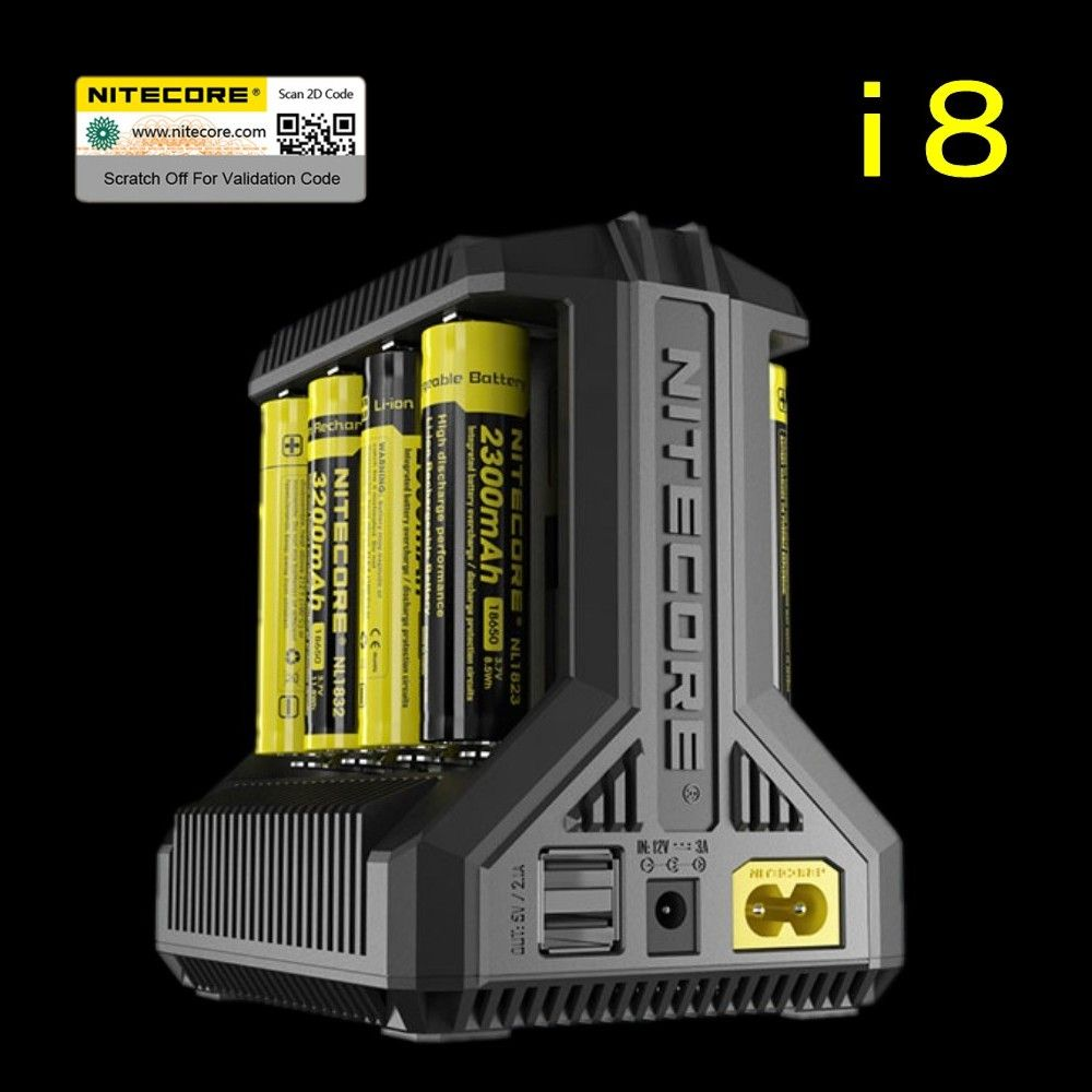 Nitecore i8 Intelligente Ladegerät 8 Gesamt 4A Ausgang Smart Ladegerät für IMR18650 16340 10440 AA AAA 14500 26650 und Usb-gerät