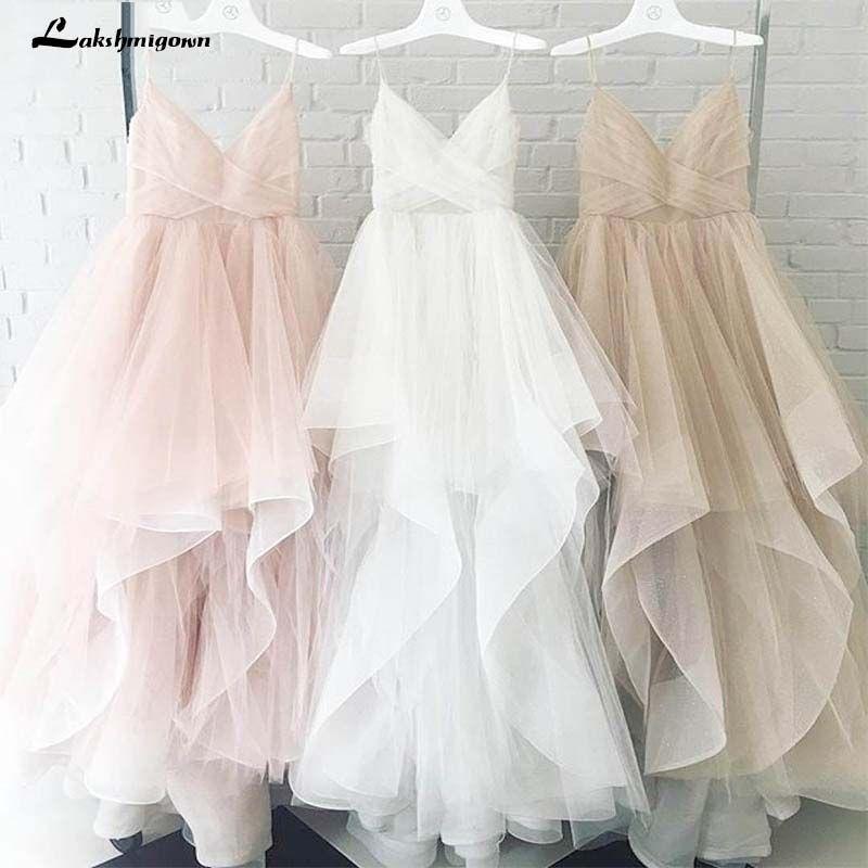 Romantische Weiß Vordere Boden-Länge Hochzeit Kleid 2018 Braut Kleider Straps Tüll Zipper Zurück mit 30 cm schwanz Vestido de Noiva