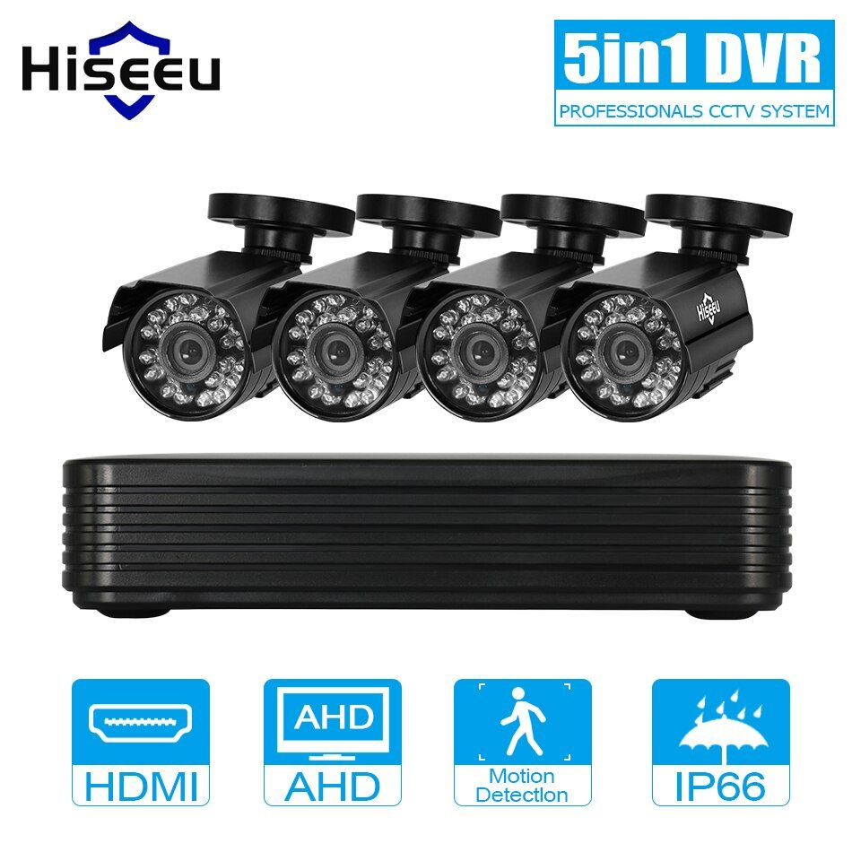 2/4 channel cctv system 4CH Mini DVR For CCTV Kit XMEYE 1200TVL 720P IR Bullet Outdoor AHD Camera Security System VGA hiseeu