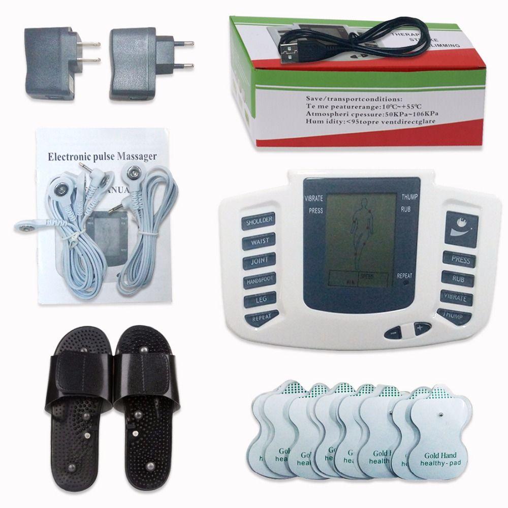 Stimulateur électrique Corps Complet Relax Musculaire Numérique Masseur D'impulsion D'acupuncture DE DIZAINES Thérapie Pantoufle 16 pcs Électrodes