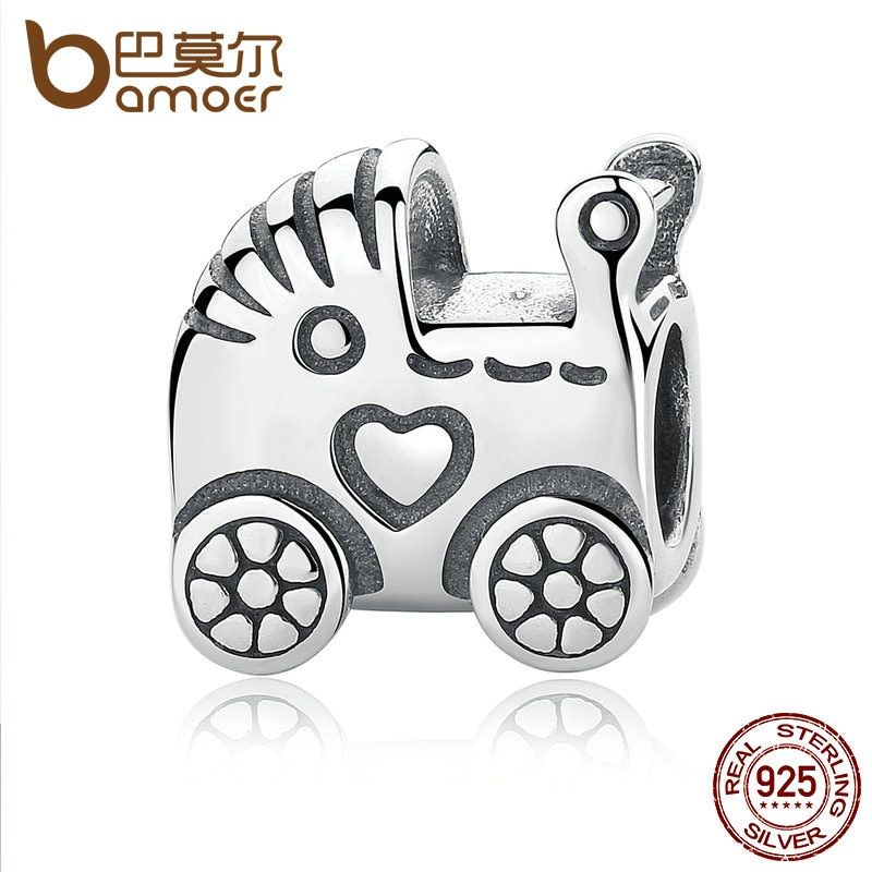 BAMOER Authentic 925 Sterling Silver Baby Carriage Charm Charms fit Original Brand Bracelet Beads & Jewelry Making PAS308