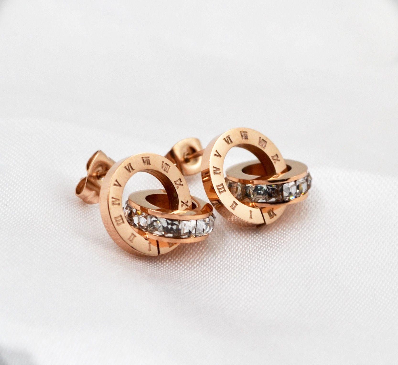 Tyme tiff mode jewerly acier inoxydable flash rome numérique double de mode lady tout-allumette titanium stud bijoux pour les femmes