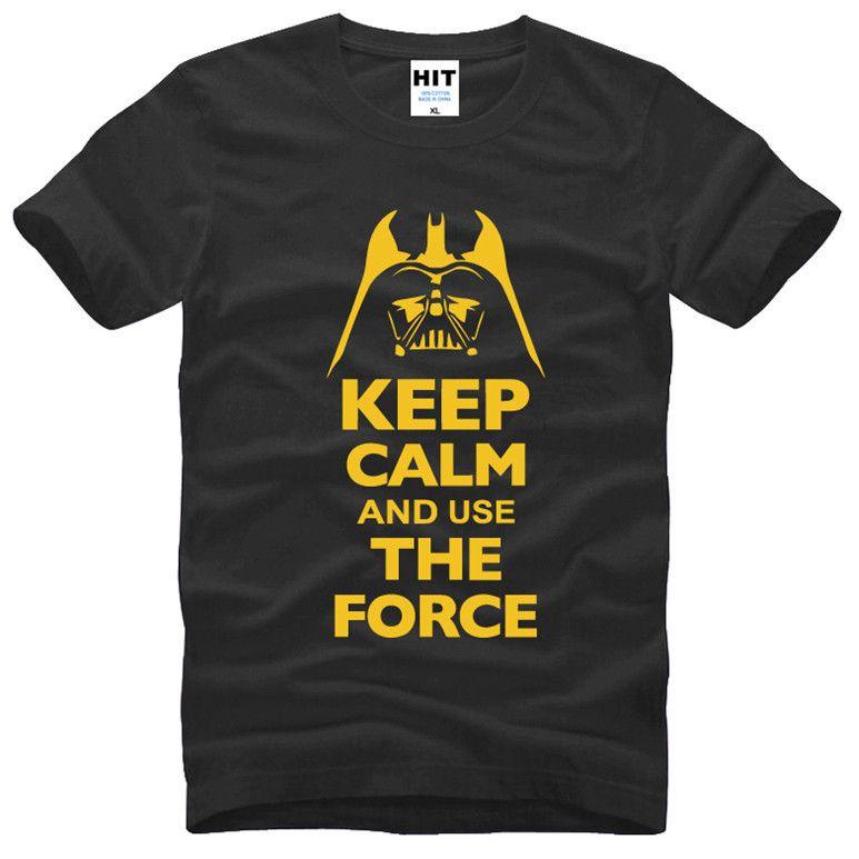 Garder Son Sang-Froid et Utiliser La Force Imprimé STAR WARS T-shirt Tshirt Hommes Hommes Mode 2016 Coton T-shirt chemise Homme
