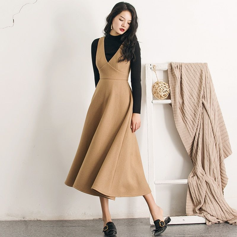 VERRAGEE Brand 2018 New Autumn Winter v-neck sundress high waist pure color sleeveless Women A- Line woolen Long Dress