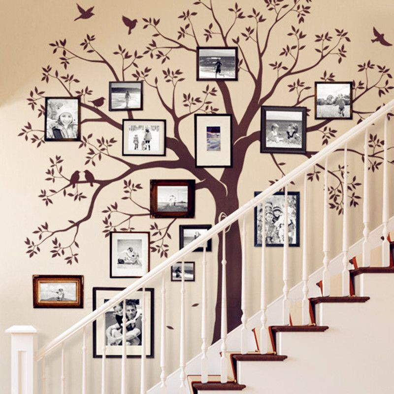 Huge Family Tree Wall Decal Vinyl Stickers Decor, Staircase Family Tree Decal, Tree Wall Decal Sticker, Baby Nursery Tree Murals