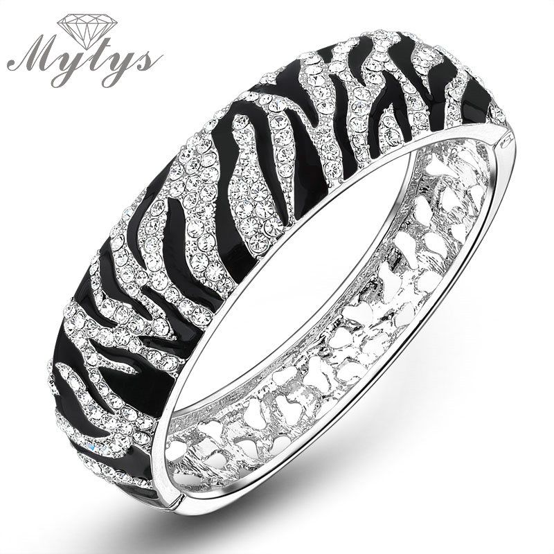 Mytys Black and White Leopard Print Bangle High Quality Crystal Pave Setting Bangles for Lady GP B394