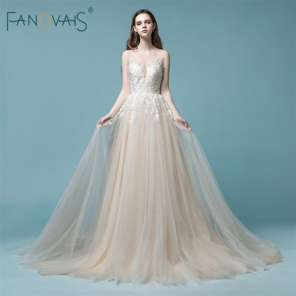 Elegante Champagne Hochzeitskleid 2018 Ärmellose Spitze Lange Brautkleid Tulle Strand Hochzeitskleid Robe de mariee Vestido Novia NW4