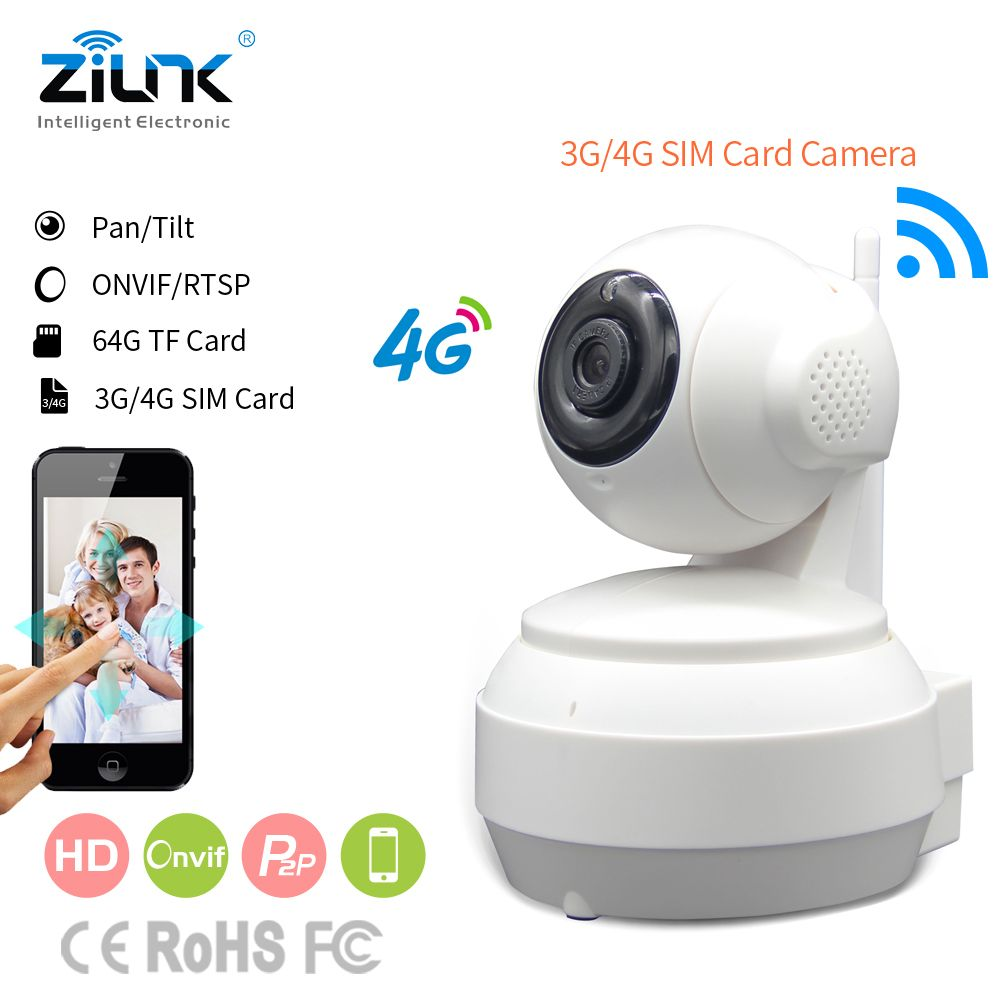 ZILNK 3G 4G SIM Card Mobile IP Camera HD 720P Video Transmission Via 4G FDD LTE Netowrk Worldwide Free APP For Remote