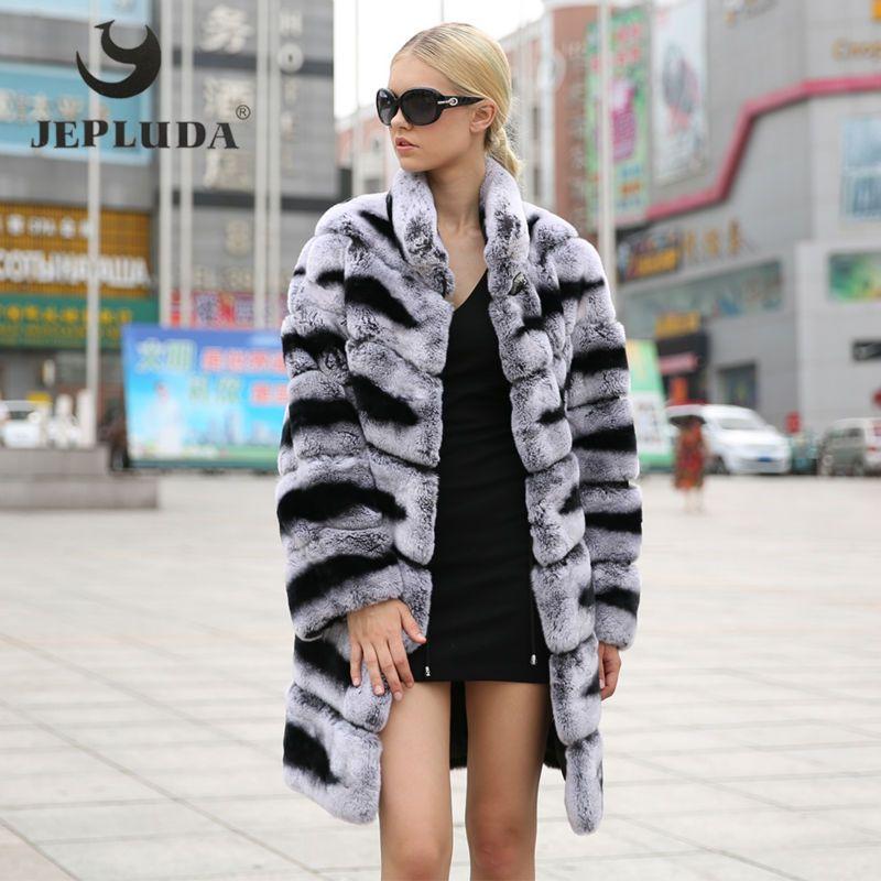 JEPLUDA Neue Weibliche Rex Kaninchen Mantel Mandarin Kragen große Mantel Saum Langarm winter jacke frauen Warme verdickung Echtpelz mantel