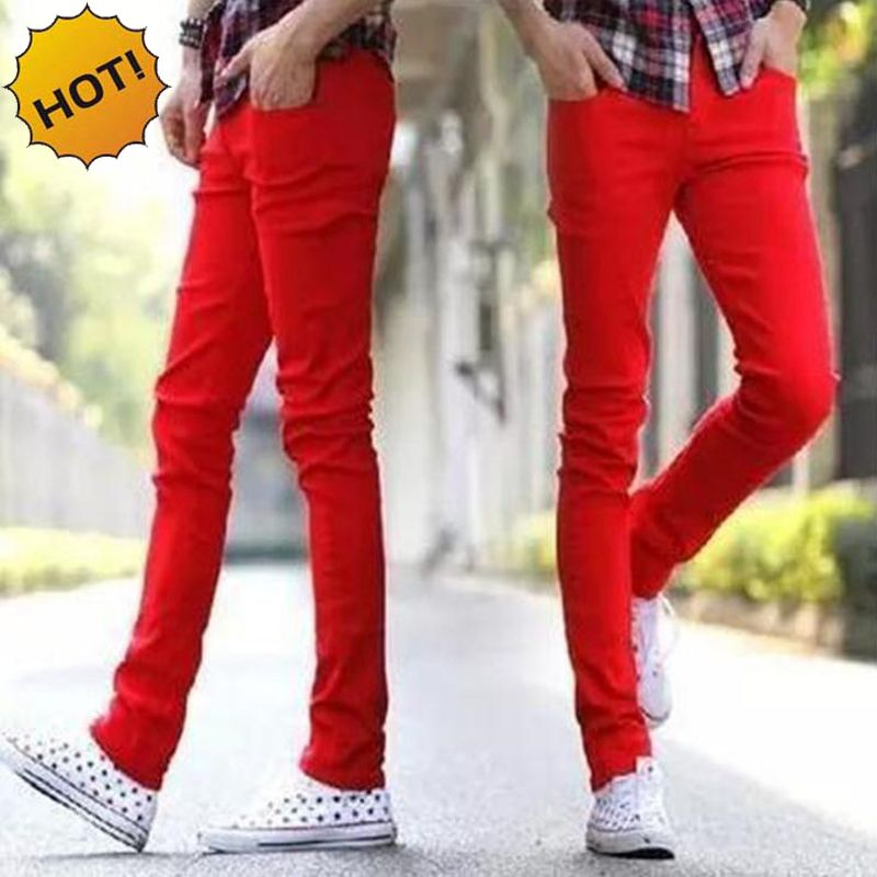 Hot Style 2017 Fashion Casual Solid Red Cuffed Leg Jeans Men Skinny Stretch Teenagers Pencil Pants Denim Homme Bottoms 27-34