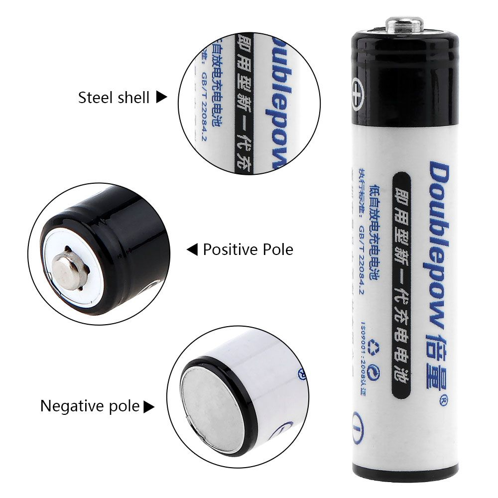 New Arrival 2pcs Doublepow 1100mAh AAA Battery 1.2V Ni-Mh LSD Rechargeable Batteries with 1200 Cycle