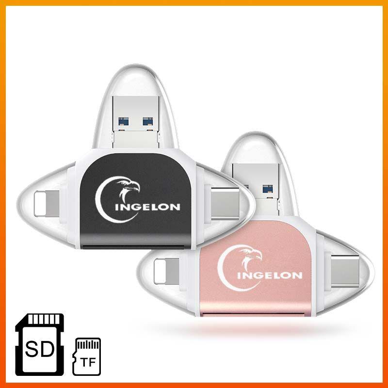 Lecteur de carte Ingelon lector de tarjetas de memoria adaptateur SD kaartlezer carte SD USB c carte sd Smart xqd CardReader pour ios tipe c pc