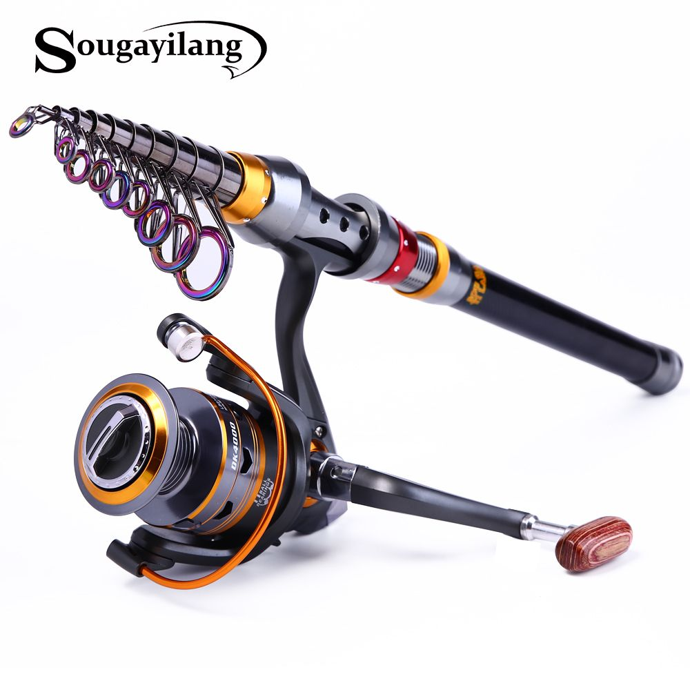 Sougayilang 1.8-3.6m Telescopic Rod and 10+1BB Reel Set and Fishing Rod of 99% Carbon Materials Carp Fishing Rod Combo De Pesca