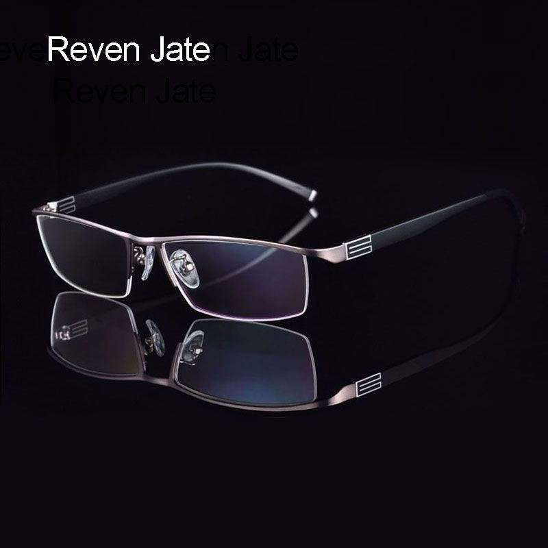 Reven Jate Titanium Alloy Front Rim Eyeglasses frame with <font><b>Flexible</b></font> Temple Arms Semi-Rimless Glasses Frame with 3 Optional Colors