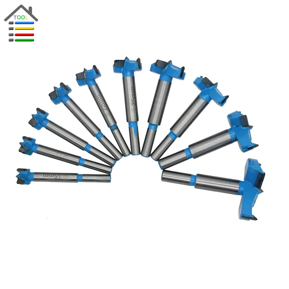 10pc 15-50mm Forstner Auger Drill Bits Set Woodworking Hole Saw Wooden Wood Cutter Tungsten Carbide