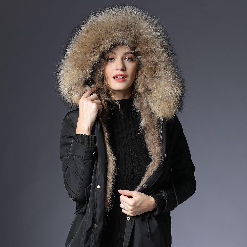 parka real fur coat women furs parka women winter real raccoon fur coat long jacket real fur coat hood parka warm outerwear paka