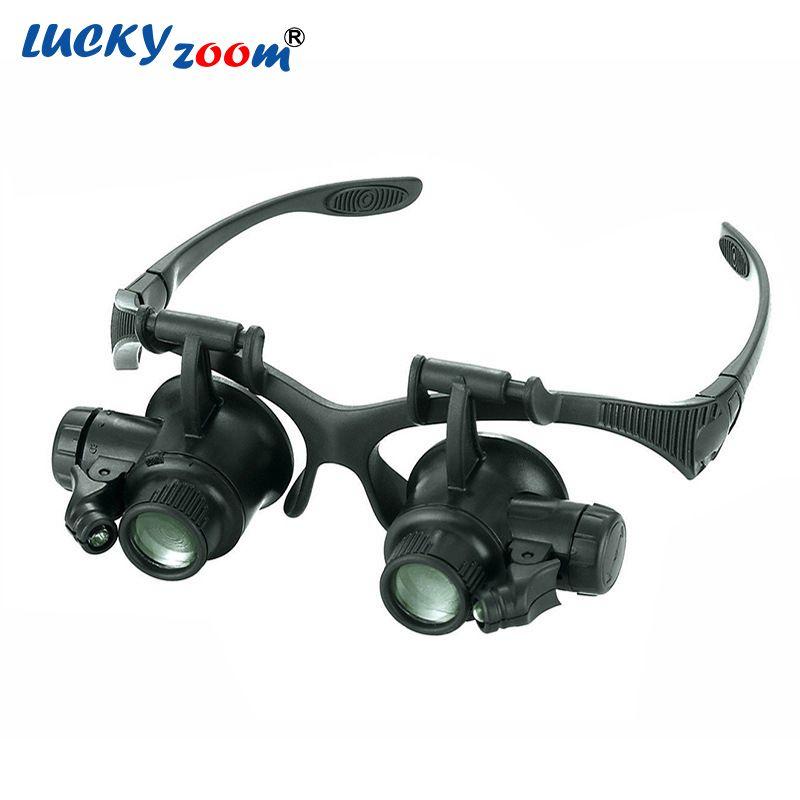 Stirnband 10X 15X 20X 25X LED Licht Brillen Lupe Uhrmacher Schmuck Optische Objektiv Glass Lupe Lupe Kostenloser Versand