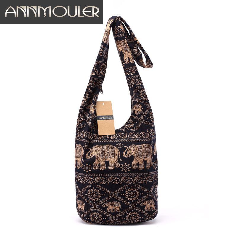Vintage Women Mochila Cotton Shoulder Bag Bohemian Style <font><b>Messenger</b></font> Bag Elephant Print Crossbody Bag Bolsas Soft Ladies Bag