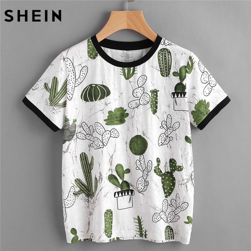 SHEIN Women Tops Summer <font><b>2017</b></font> Casual Woman T shirt Top Crew Neck Short Sleeve Cactus and Marble Print Ringer Tee