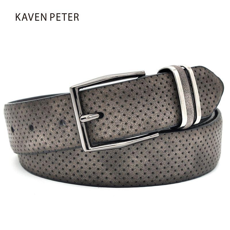 Hommes casual a la mode Jean ceinture ceinture avec pistolet métal boucle Dot Style Split cuir décontracté homme robe ceinture couleur gris foncé