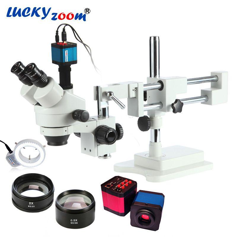 Luckyzoom 3.5X-90X Double Boom Stereo Zoom Trinocular Microscope 14MP Camera 144LED Objective Lens Microscopio Free Shipping