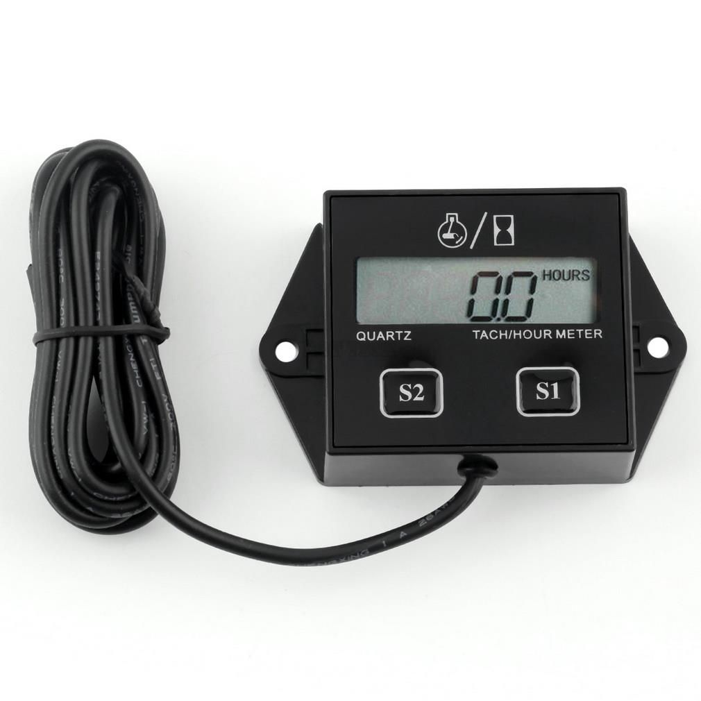 Newest Car Digital Engine Tach Tachometer Hour Meter with Wire Inductive for Motorcycle Car Motor Stroke Engine Drop Shipping