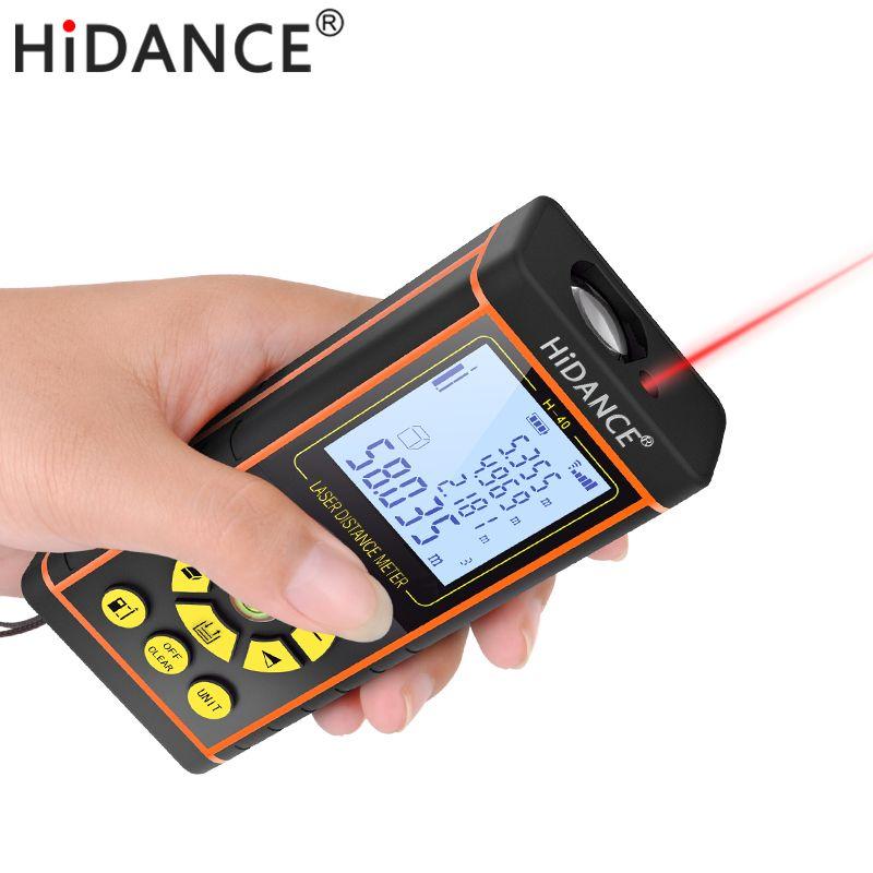 HiDANCE laser télémètre outils de construction télémètre télémètre numérique optique ruban à mesurer laser mètre 100 m 80 m 60