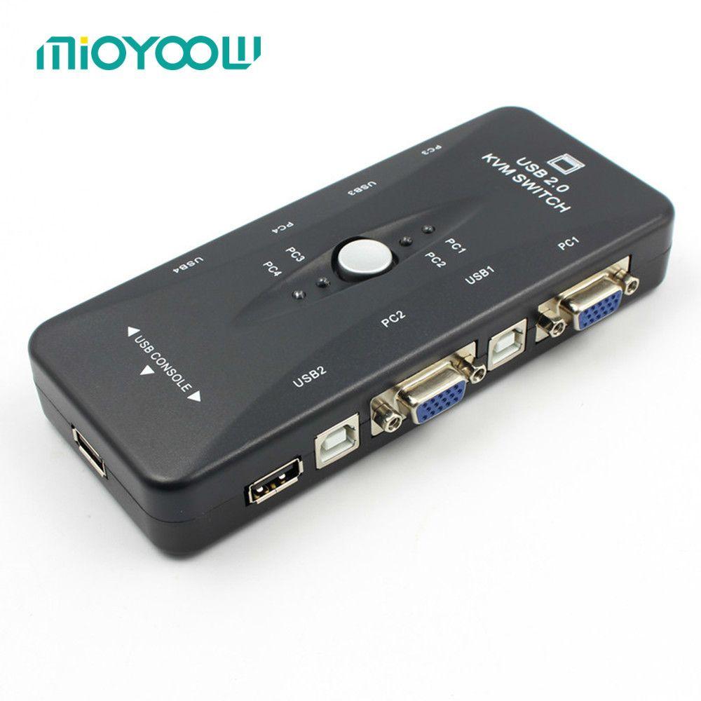 Colohas 4 Port USB 2.0 KVM Switch VGA/SVGA Splitter Box HUB Selector Adapter 1920 X 1440 Connects Printer Keyboard Mouse Monitor