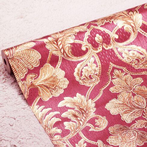Nouveau 3D fleurs en relief romantique fond rouge papier peint 3D damas papier peint mural de luxe rouleau 3D Rose papier peint salon
