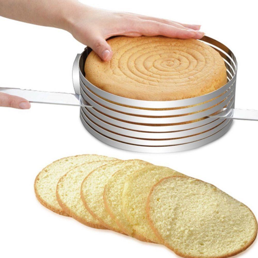 Réglable en acier inoxydable bricolage cercle gâteau moule cuisson couches tranchage Kit pâtisserie cuisson ronde coupe anneau outil skitchen Accessoire