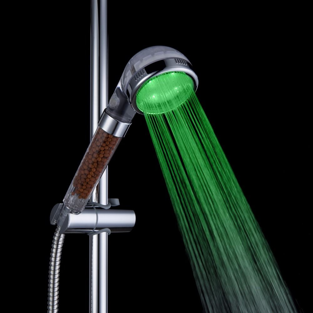 Promotion! LED Shower Head Sprinkler Negative Ions Anion Temperature Sensor RGB Color