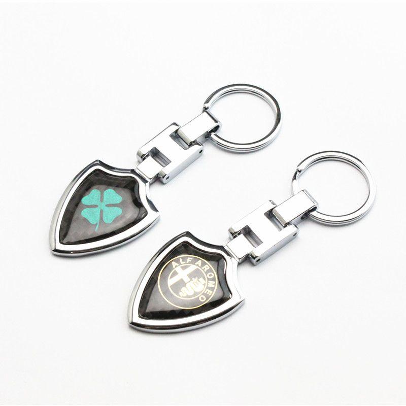 New 1pcs Metal Key chain Ring ALFA ROMEO Keychain Key ring for Mito 147 156 159 166 Giulietta Spider GT Car Logo emblem Badge
