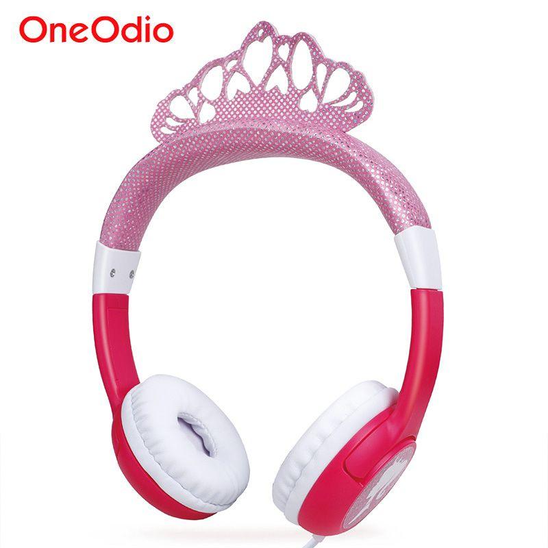 Oneodio Nette Cartoon Gefrorene Stirnband Headset Bling Prinzessin Crown Kinder Kopfhörer Für Mädchen Kinder Gaming Kopfhörer Rosa/Blau