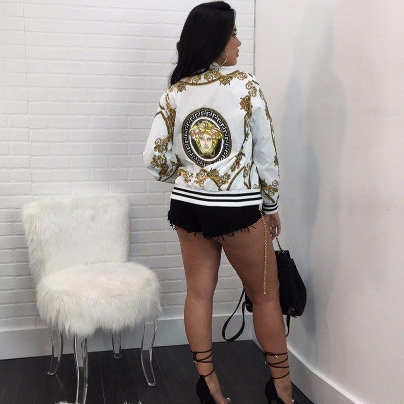 2018 Vintage Print Women Jacket Coats Streetwear Jacket Women Fashion <font><b>Reversible</b></font> Baseball Jackets Casaco Feminino Chaqueta Mujer
