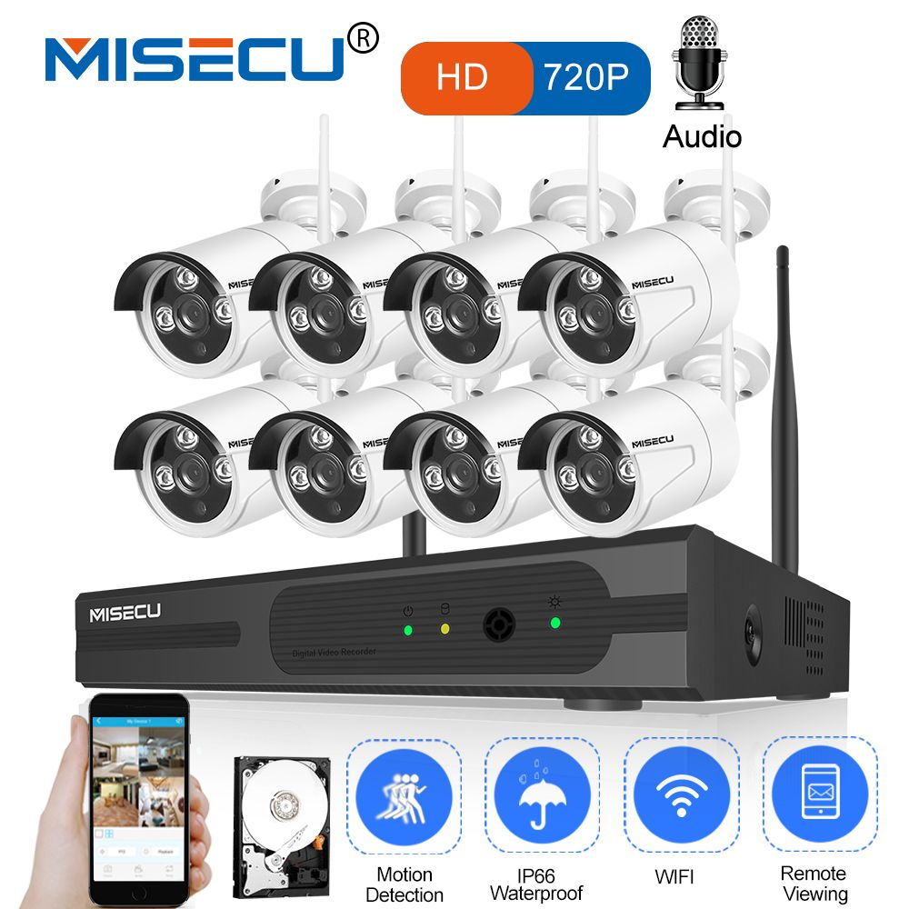 MISECU 8CH 1080P HDMI WiFi NVR 8PCS 1.0MP CCTV Wireless IP Camera Audio IR Outdoor Weatherproof Security Surveillance System Kit