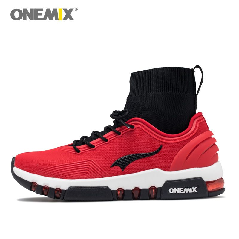 ONEMIX Men Running Shoes Women Cushion Non-slip Sports Sneakers Red Athletic Outdoor Walking Tennis Trainers Boots Indoor Socks